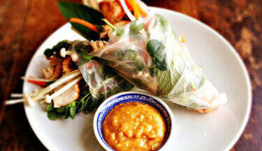 RK Grilled Thai Turkey Salad Rolls with Enoki Mushrooms & Peanut Sauce TT