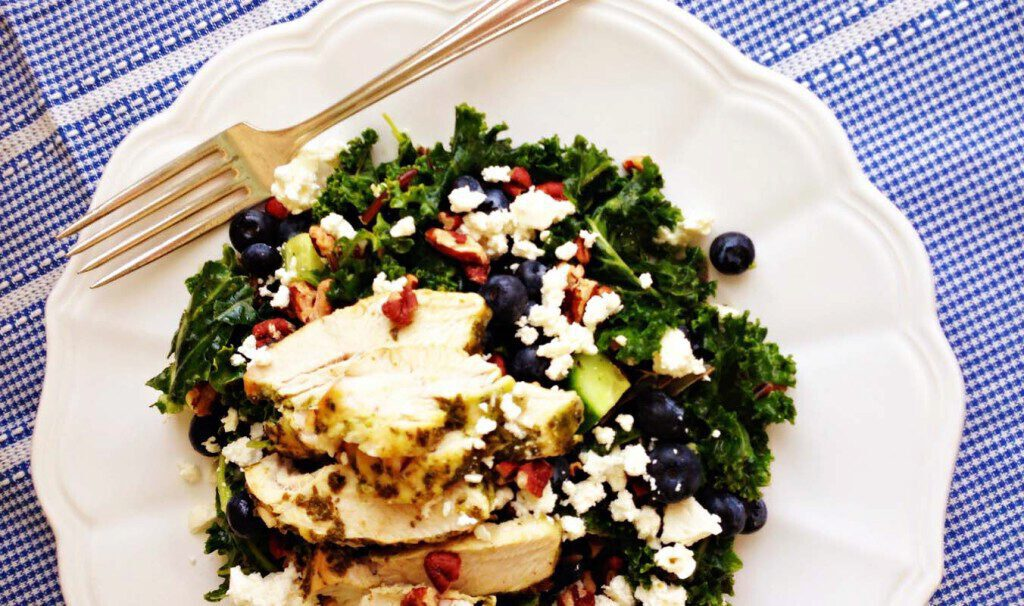 Turkey Kale Salad with Wild Rice and Blueberries ...