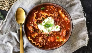 one pot turkey lasagna soup
