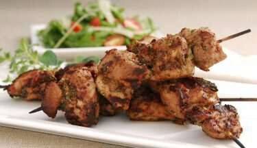 Picture of Maple Mustard Turkey Kebabs & Fennel Arugula Salad
