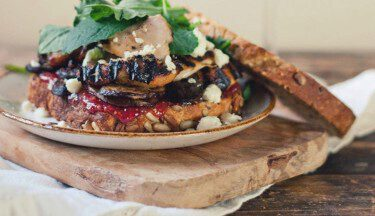 Picture of Grilled Turkey and Cremini Sandwich with Fig Jam & Feta