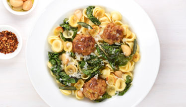 turkey meatballs and greens with orecchiette pasta