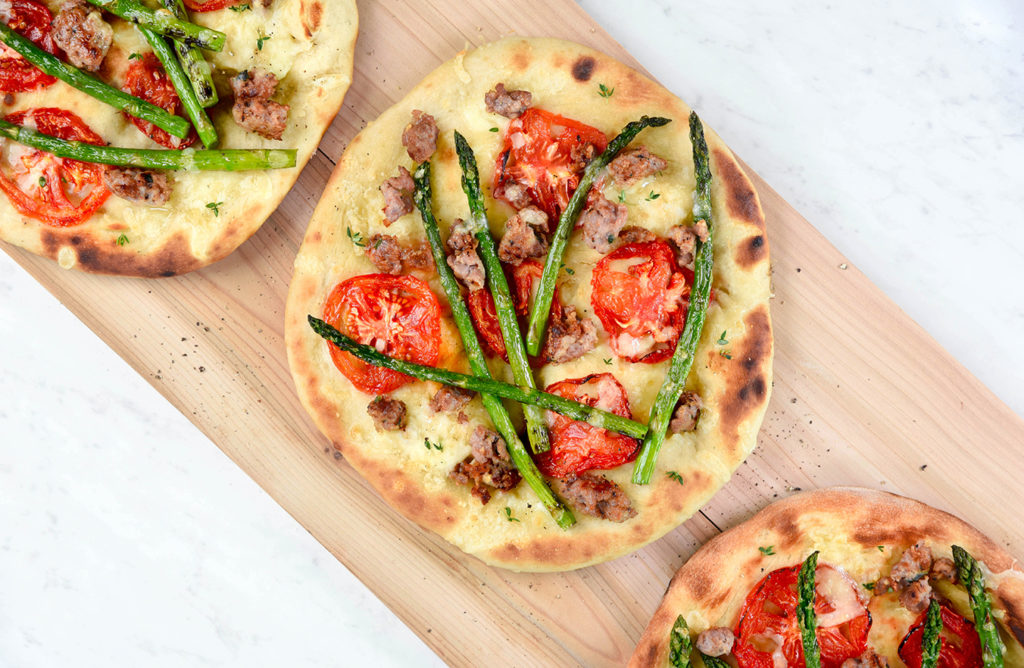 Turkey Sausages, Tomatoes and Asparagus Grilled Pizza